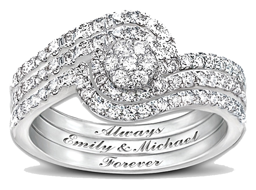 The Review Wire: The Bradford Exchange Personalized Gifts: Personalized The Story Of Our Love 3-Band Diamond Ring