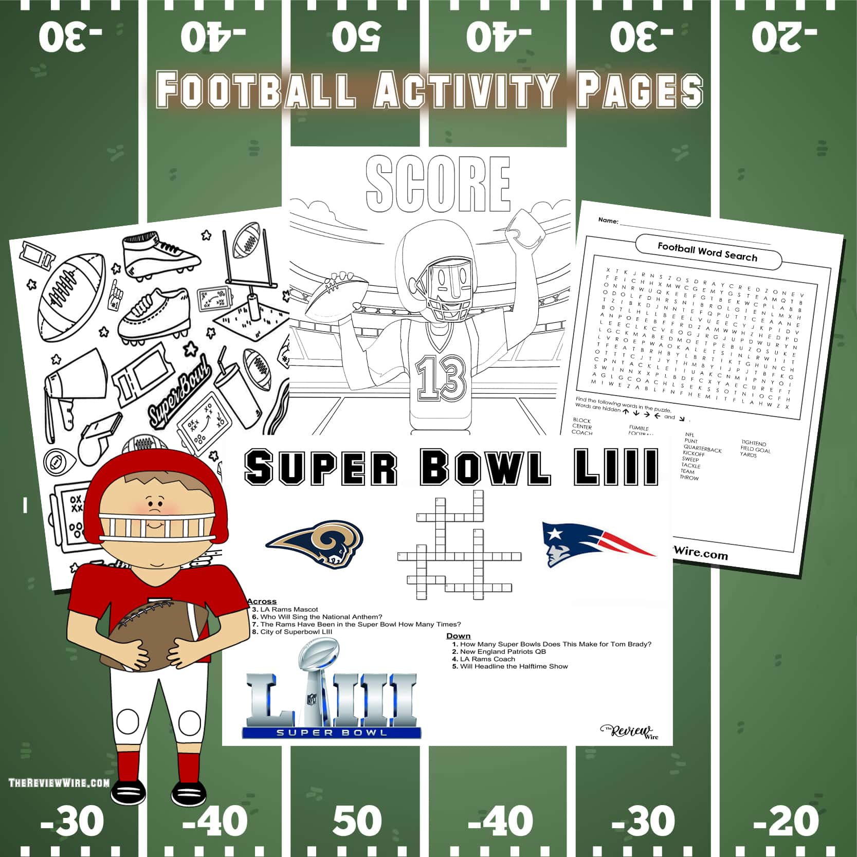 The Review Wire: Football Activity Pages for Super Bowl LIII
