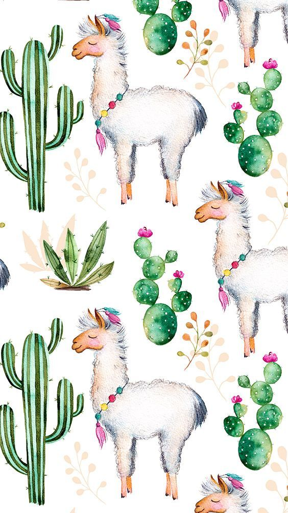 iPhone Wallpaper: Cactus Llama