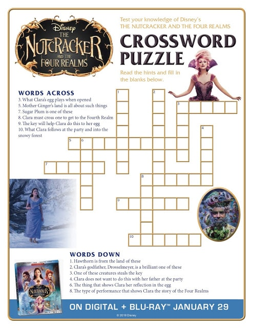 The Nutcracker and the Four Realms Crossword Puzzle