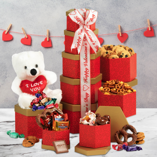 Broadway Basketeers Valentines Day Gift Tower