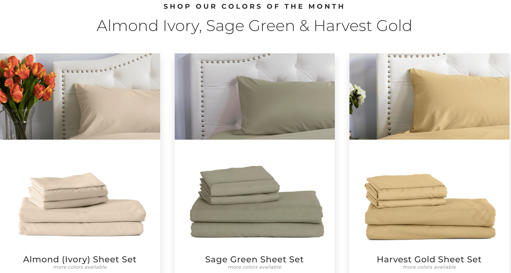 PeachSkin Sheets March Colors of the Month