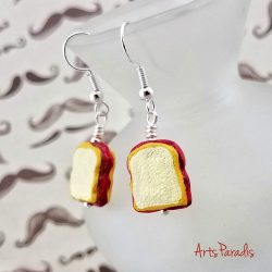 Peanut Butter and Jelly Sandwich Ceramic Dangle Earrings