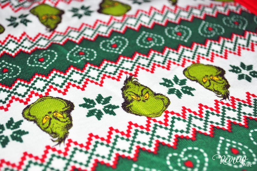 The Review Wire: The Grinch PJ Union Suit Up-close