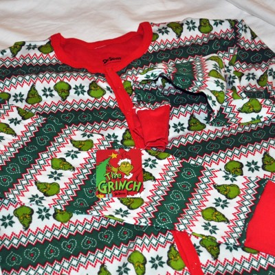 Ugly Christmas Sweater: Grinch Family Faces Pajama Union Suit