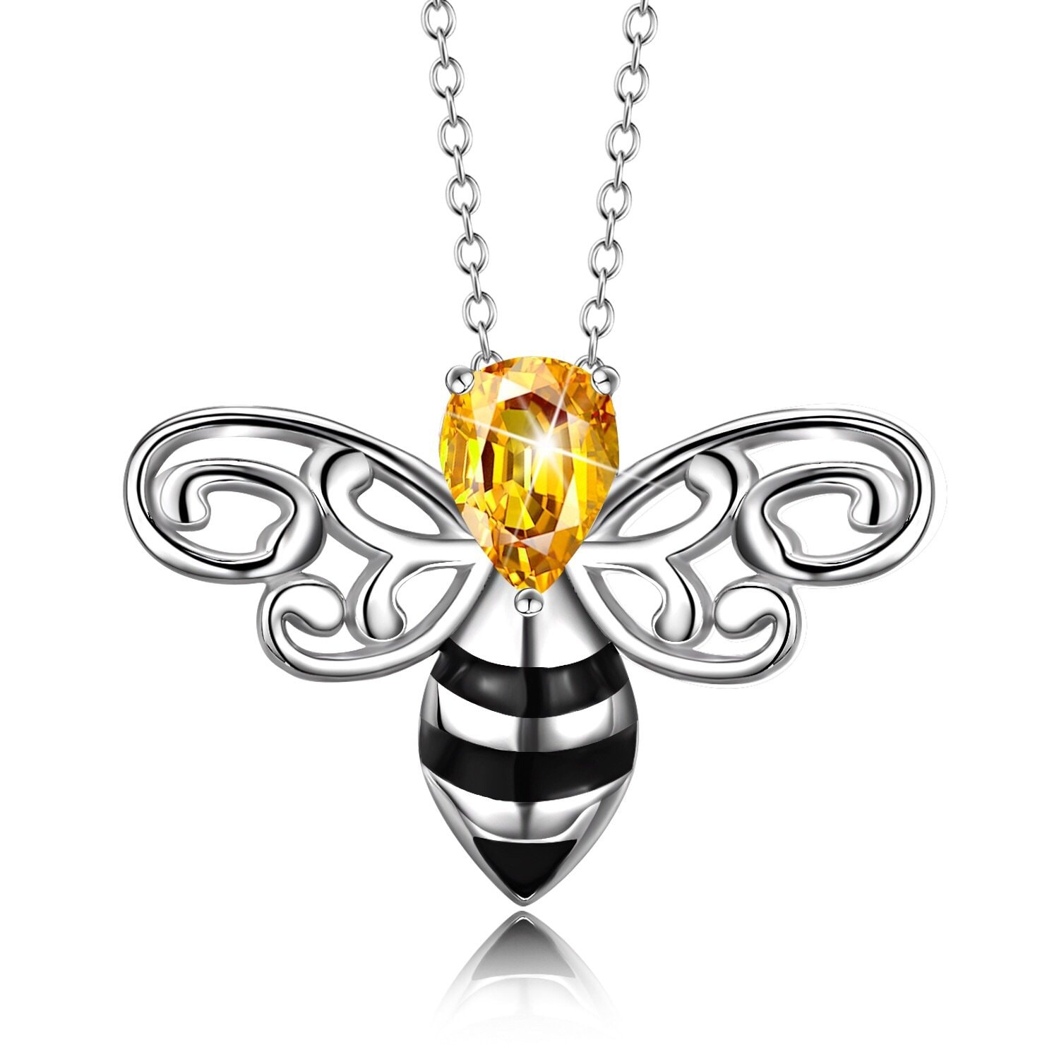 Honeybee Rhinestone Sterling Silver Necklace