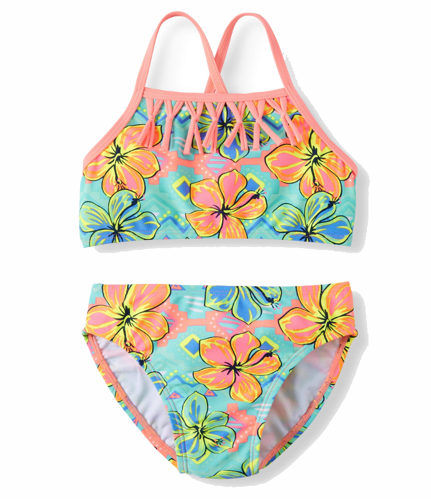 Hibiscus Power Fringe Bikini Swimsuit