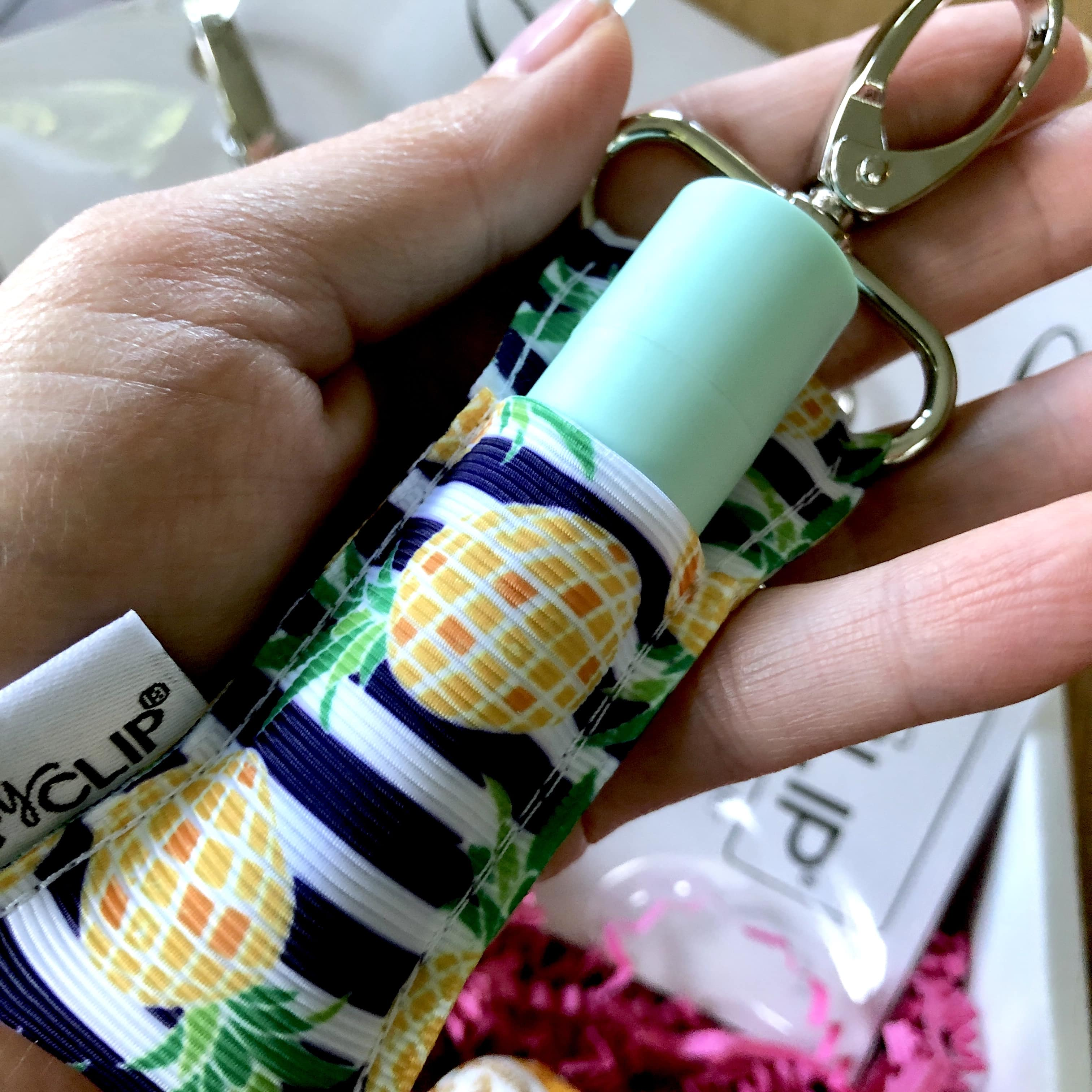 The Review Wire: LippyClip Navy and White Stripe with Pineapples