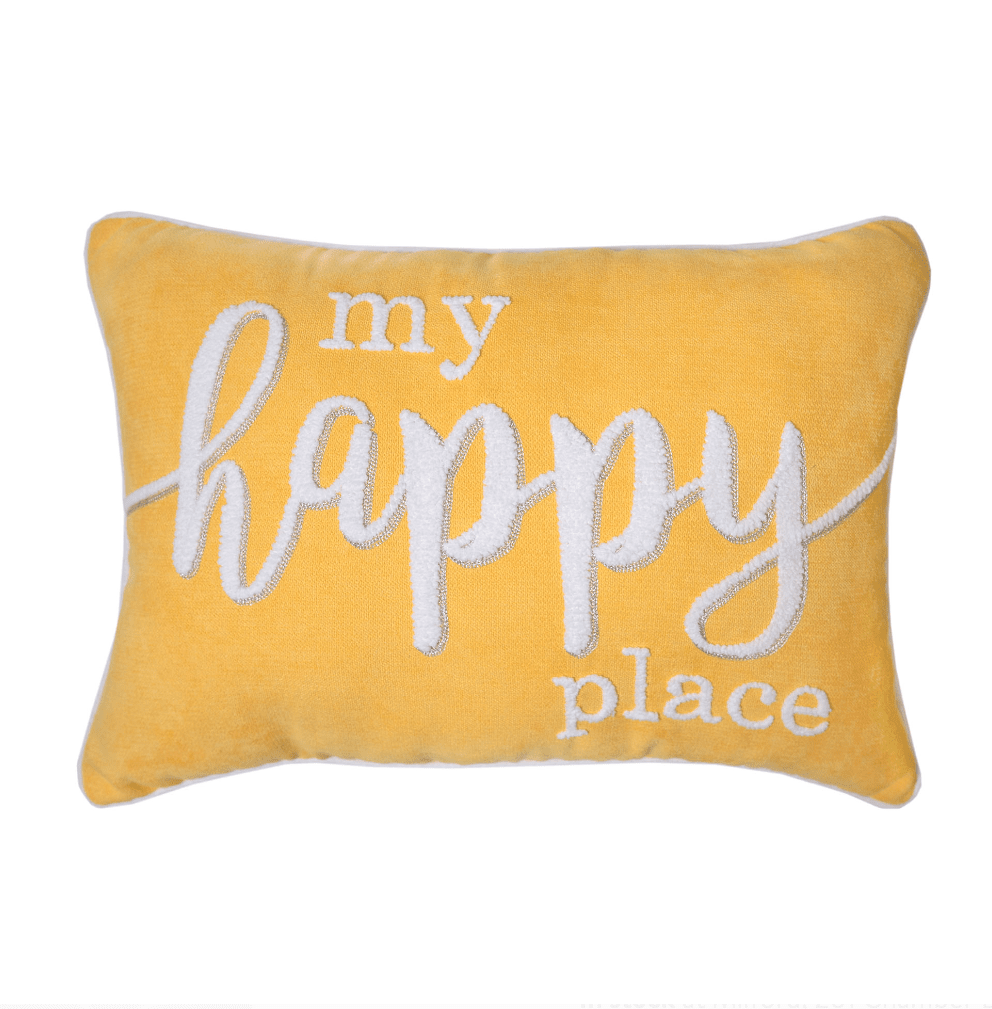 My Happy Place Yellow Pillow