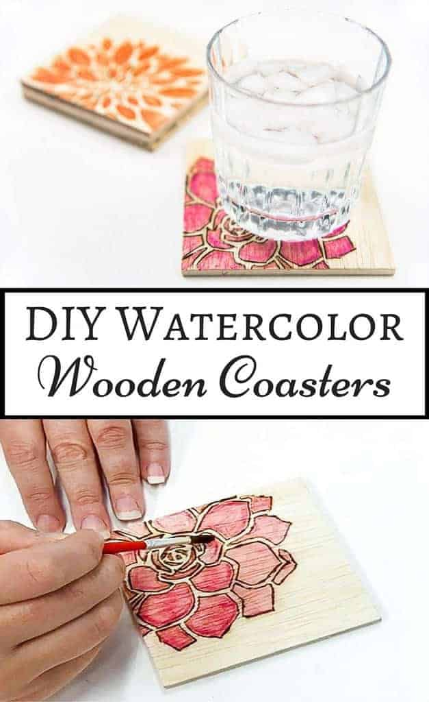 DIY Watercolor Wooden Coasters from The Handyman's Daughter
