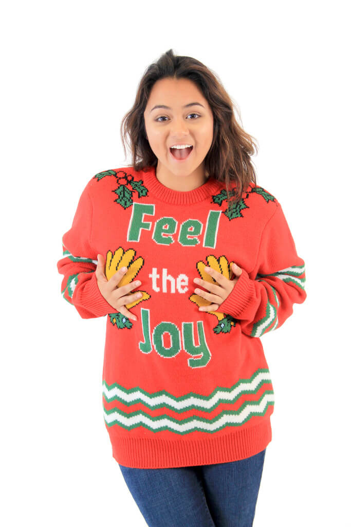 Feel The Joy Groping Hands Tacky Ugly Christmas Sweater