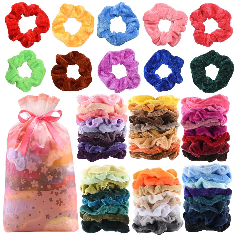 60 Pcs Premium Velvet Hair Scrunchies