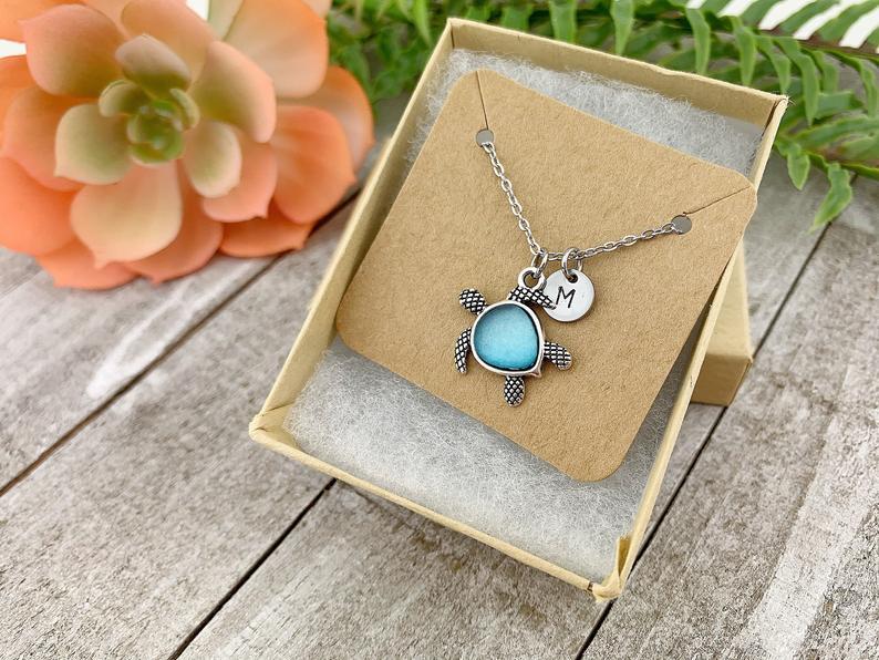 Blue Sea Glass Turtle Necklace