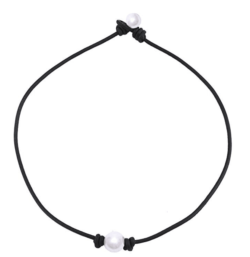 Charming Collection Single Cultured Freshwater Pearl Leather Choker