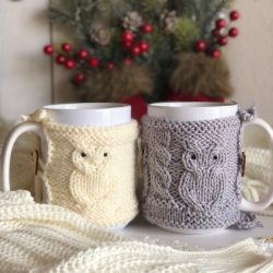 The Review Wire: Make it a Hygge Holiday with these Ideas for a Cozy Christmas - Owl Hand-Knit Hug Mug Cup Cover