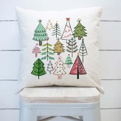 Whimsical Christmas Trees Pillow Cover