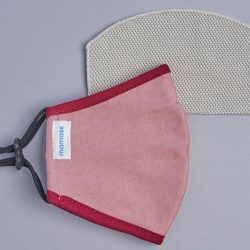 The Review Wire Holiday Gift Guide 2020: Mamask Rose Pink with Burgundy Piping Mask