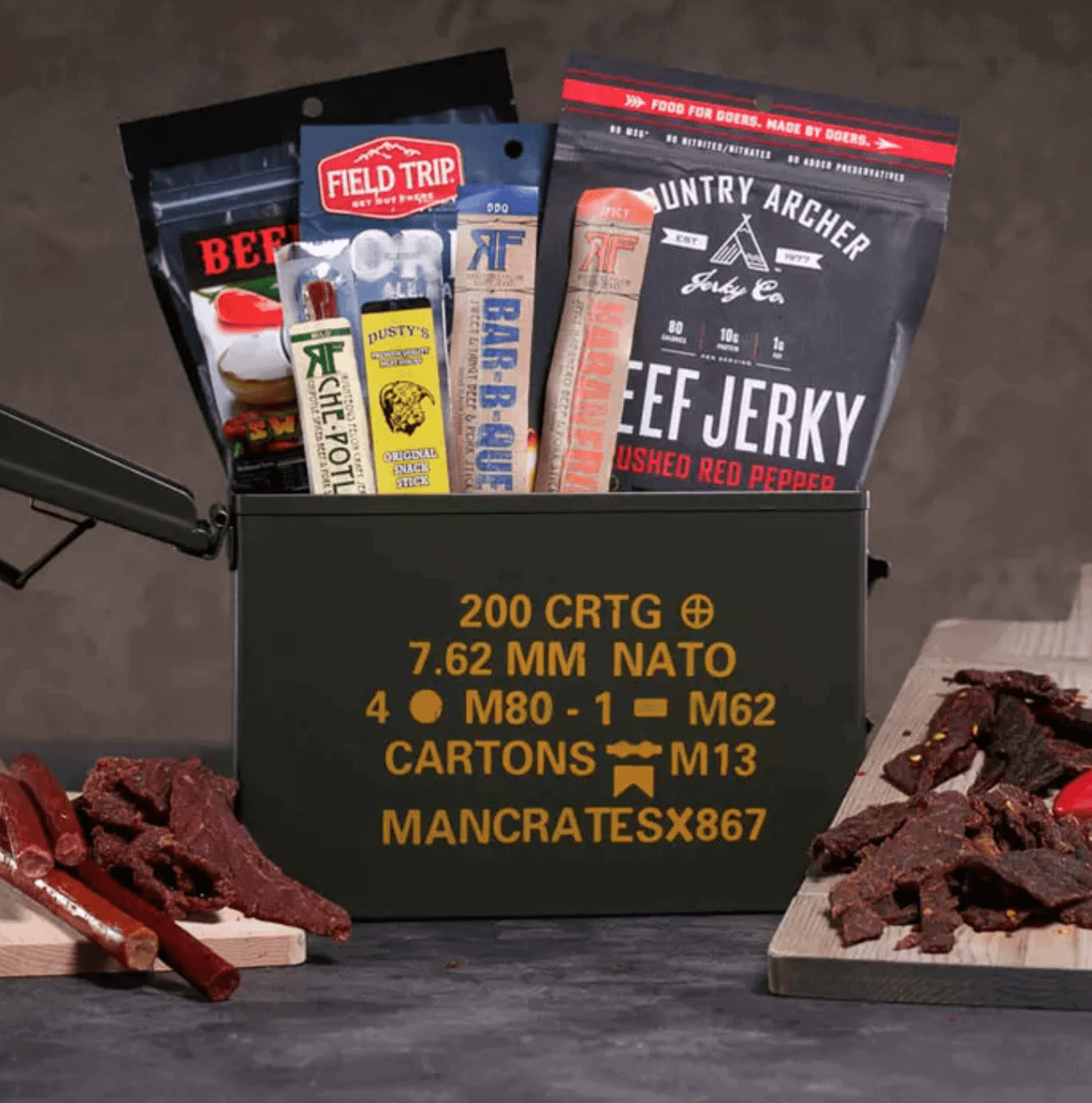 Man Crates Gifts for Dad: Premium Jerky Ammo Can