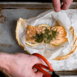 The Review Wire Summer Guide: Wild Alaskan King Salmon en Papillote with Freekeh Risotto