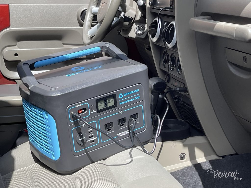 The Review Wire: HomePower ONE- Backup Battery Power Station_Plugged into Jeep